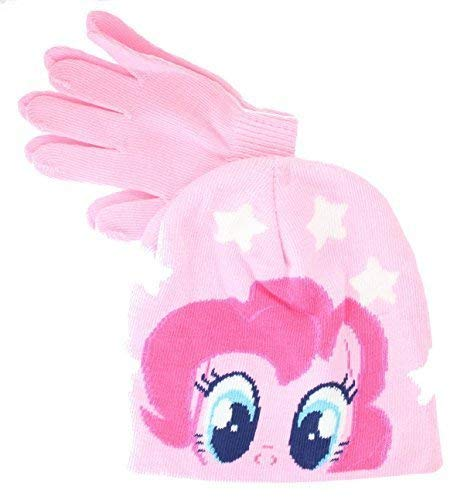 My Little Pony Pinkie Pie Pink Winter Beanie Hat & Gloves Childrens Official Set 56888