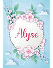 Alyse: Notebook A5 | Personalized name Alyse | Birthday gift for women, girl, mom, sister, daughter ... | Design : hanging clouds | 120 lined pages journal, small size A5 (ca. 6 x 9 inches)