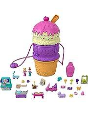 Polly Pocket HFR00 - Uitklapbare funbox ijshoorntje, speelset in de vorm van een ijshoorntje, speeltuin thema, drie etages, vanaf 4 jaar