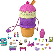 Polly Pocket Spin 'n Surprise Compact Playset, Ice Cream Cone Shape, Playground Theme, 3 Floors, 25 Surprise A
