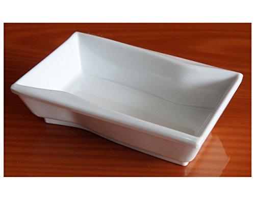 [(Set of 6) Amatahouse White # D2135 Rectangular Soy Sauce Dish Sushi Wasabi Plates Soy Sauce Dipping Bowls Ektra Melamine] (Sushi And Kikkoman Costume)