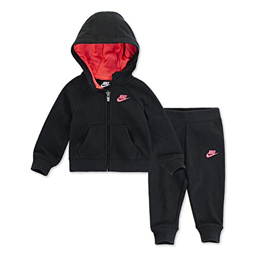 NIKE Children's Apparel Girls' Toddler Hoodie and Joggers 2-Piece Set, Black/Pink, 2T