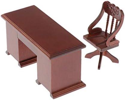 F Fityle ミニチュア 家具 デスク チェア 椅子 モデル 1/12スケール ドールハウス 人形の家 シーン装飾