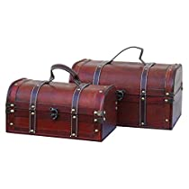 Vintiquewise Decorative Wood Treasure Box Wooden Trunk/Chest, Se