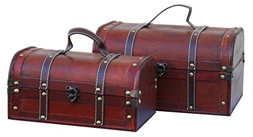 Vintiquewise(TM) Decorative Treasure Box Wooden Trunk/Chest, Set of 2 Treasure Chest Set