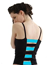 Margarita Activewear Black with Blue Stripes Top