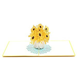 Liif Sunflower Pop Up Card, 3D Pop Up Floral Card, Card for All Occasions, Birthday, Mother's Day, Anniversary, Get Well