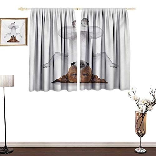 Yoga, Blackout Window Curtain 2 Panel, Dog Upside Down Relaxing with Closed Eyes Doing Yoga Calm Therapy Humor Animal Print, for Living Room, W55 x L72 Inches, White -