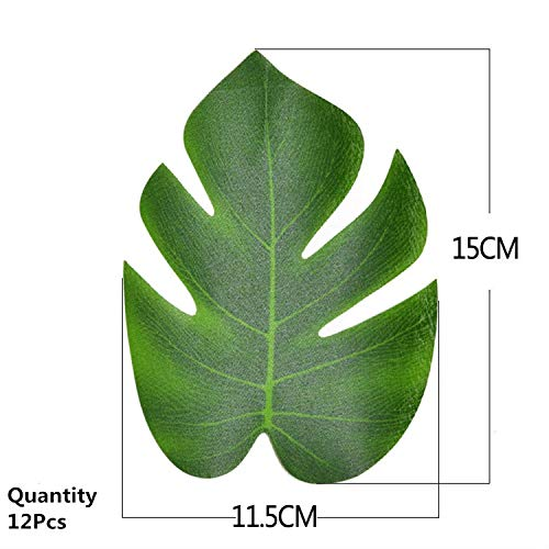 12pcs Artificial Green Leaf Monstera Palm Leaves for Hawaii Luau Party Decorations Wedding Table Decoration Plants Flower Leaves,S 7' Vintage Head Vase