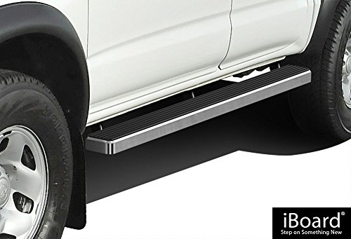 "APS IBTY5941 Silver 4"" Running Board Side Step (iBoard Third Generation, For Selected Toyota Tacoma Double Cab/Crew Cab, Aluminum)"