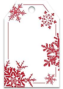 "50 Red Snowflakes Printed Gift Tags 2-1/4""x3-1/2"""