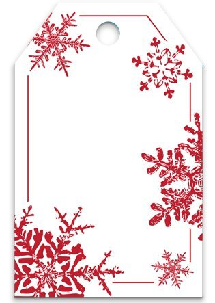 - 50 Red Snowflakes Printed Gift Tags 2-1/4