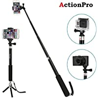 Action Pro Gopro Black Extendable Self Portrait Selfie Handheld Stick Monopod 1 x Monopod Adapter 1 x Screw for Gopro Hero 2018 7 6 5 4 Session 3 3+ 4 /SJ4000/XIAO MI YI Camera (ACPRO047)