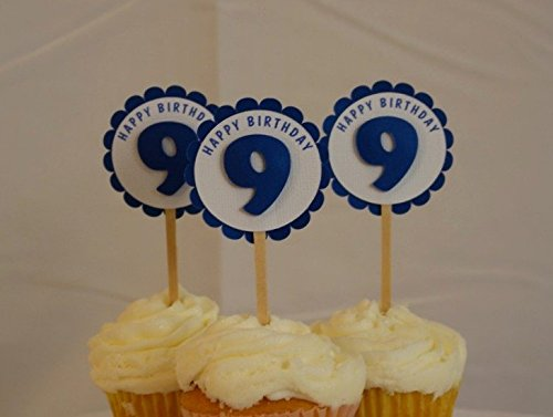 All About Details Shimmer Blue 9th Birthday Cupcake Toppers, Set of 12 by All About Details (Image #2)