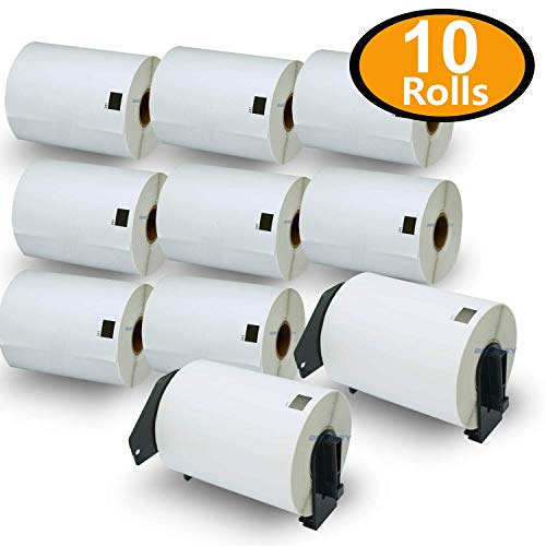 10 Rolls Brother DK-1241 4 x 6 Shipping Labels with Refillable Cartridge Compatible for Brother P-Touch QL-1110NWB QL-1100 QL-1060N QL-1050