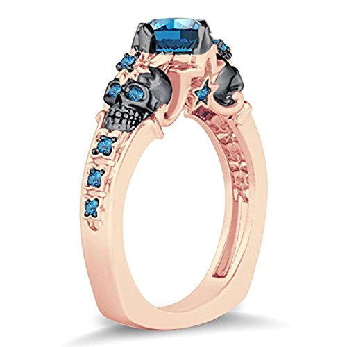 Womens Fashion Jewelry Double Skull Flower & Star Design Round Cut Created Blue Topaz 14k Rose Gold Plated Alloy Skull Ring Free Sizes 4-11 (Prong White Topaz Star)