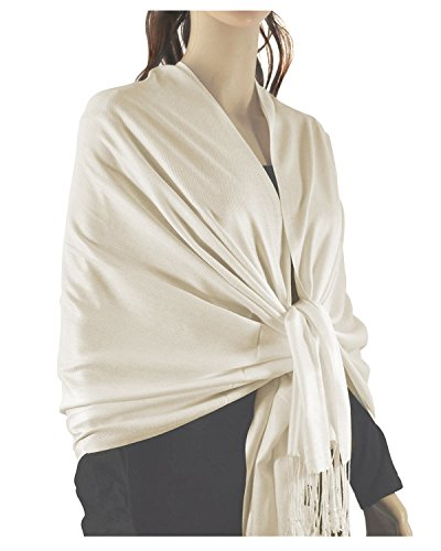 Paskmlna Large Solid Color Pashmina Shawl Wrap Scarf 80' X 27' (Off Whtie#3)