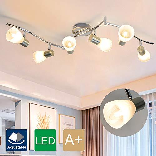 DLLT 6-Light Flexible Track Lighting Rail, Modern Directional Led Spot Ceiling Light Fixture with Glass Shade, E12 Base…
