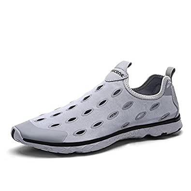 Gomnear Lightweight Water Shoes Men Breathable Slip-on Sport Shoes,GM9989G3-45,Grey