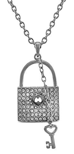 Things2die4 Metal Pendant Necklaces Silver Tone Rhinestone Lock Necklace With Key Charm 28 In. Silver