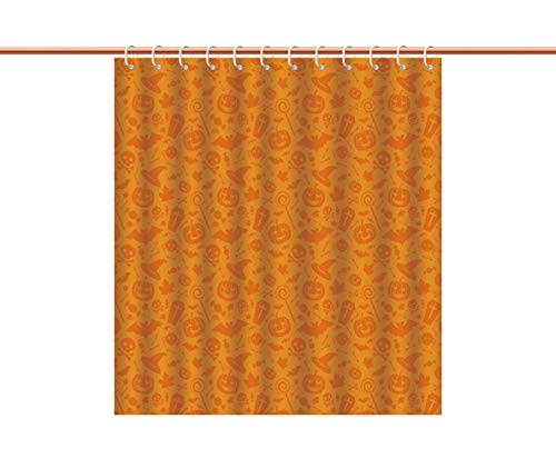 iPrint Mildew-Proof Shower Curtain [ Halloween Decorations,Monochrome Design with Traditional Halloween Themed Various Objects Day,Orange ] Fabric Bathroom Decor Set with Hooks ()