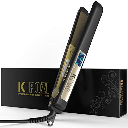 KIPOZI Professional Flat Iron Titanium 1 Inch Hair Straightener with Adjustable Temperature High Heat 450 degrees Frizz Free Dual Voltage Heats Up Quickly Matte Black (For Irons Flat Nano Hair Titanium)