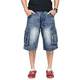 DANTILE Men's Capri Cargo Denim Shorts