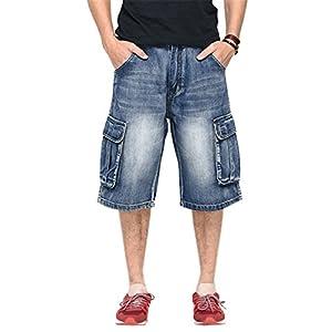 DANTILE Men's Capri Cargo Denim Shorts