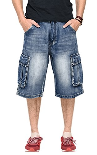 Men's Loose Fit Cargo Capri Denim Jeans Work Shorts with Multi Pockets, Blue, Tag Size 46 = US 44