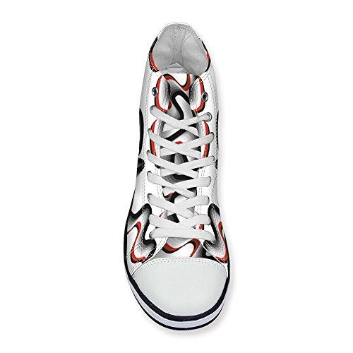 Para U Diseños Colorido Stripe Style Mujeres High Top Lace Up Canvas Moda Sneaker Blanco