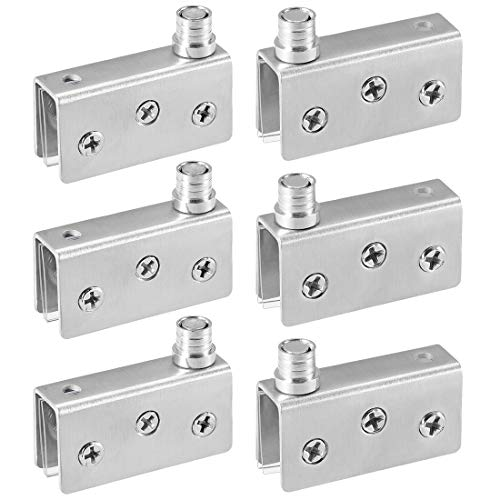 uxcell Glass Hinge Stainless Steel Glass Door Pivot Hinge Glass Clamp Silver Tone 52x16x26mm, 3 - Hinge Mirror