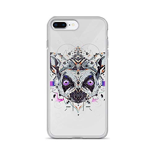 (iPhone 7 Plus/8 Plus Pure Clear Case Cases Cover Electro Pug Portrait Abstract Painting)