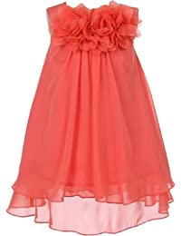 Mesh Flower Chiffon Dress Little Girl Special Occasion Dresses (25K5DF) Coral 2