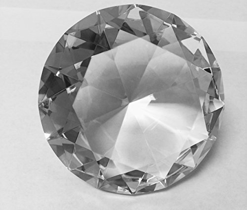 Stunning Sparkling Crystal Diamond Shaped Centerpieces Decorations Treasure Gems Paperweight.by Sunrise Crystal (80MM/3.1INCH, CLEAR) Diamond Shaped Table Jewels