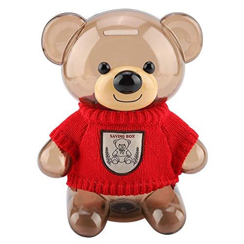 Jeffergarden Piggy Bank Children Coin Piggy Bank Money Box Cartoon Clothes Bear Plastic Transparent(red)