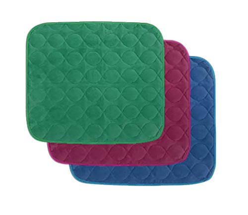 Platinum Care Pads Velvet Opulence Premium Comfort Chair / Wheelchair Washable Pad Size - 18X24 - Pack of 3 1 Blue 1 Green 1 Burgundy ()