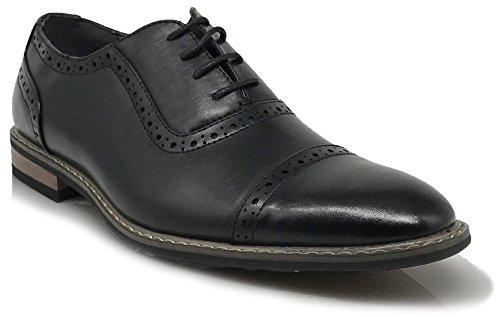 Wooden03N New Men's Classic Italy Modern Oxford Captoe Perforate Lace Up Dress Shoes (12, Black)