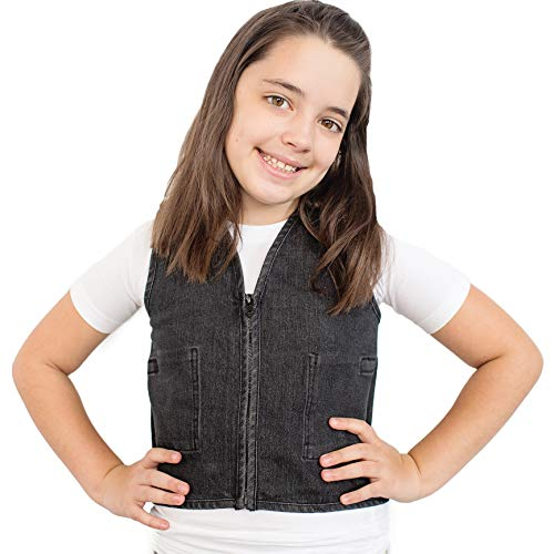 Fun and Function's Stretch Denim Weighted Vest to Reduce Wiggles, Fidgets, Anxiety (Vest Hidden Weighted)