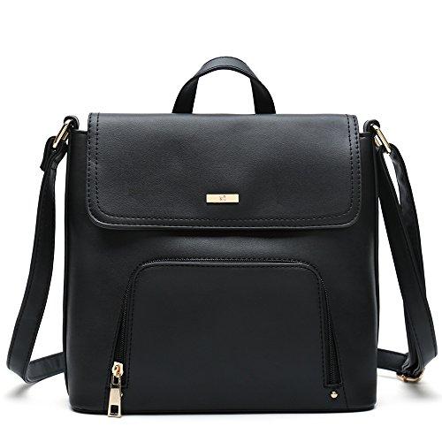 Medium Sized Women's Crossbody Bags Popular Female Shoulder Hand Purse Designer (Black)