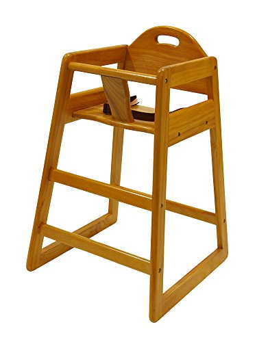LA Baby Restaurant Style Stack-able Wood High Chair - Natural