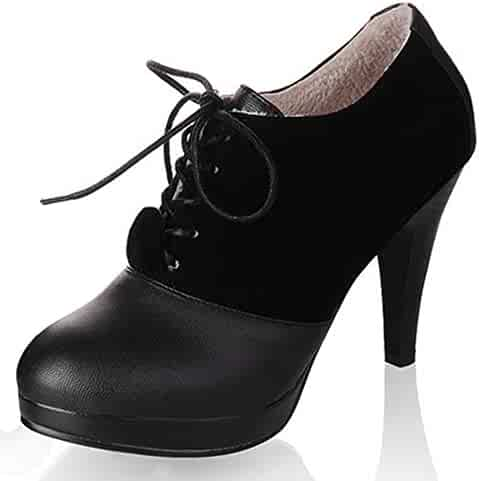 ca2e876b19b Summerwhisper Women s Sexy Faux Suede Splicing Lace up Booties Round Toe  Stacked Stiletto High Heel Short