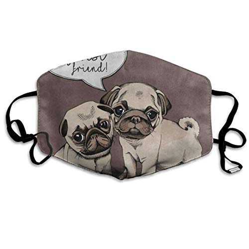 Adjustable Ear Loops Mouth Mask You're My Best Friend Quote Pug Puppy Dog Anti-dust Face Mask Washable Dustproof Anti-Bacterial Masks Polyester Breath Safety Warm Outdoor Masks for Men and Women]()