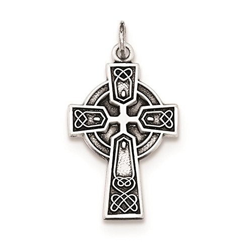 925 Sterling Silver Antiqued Small Celtic Cross Polished & Satin Charm - Satin Silver Antiqued Sterling