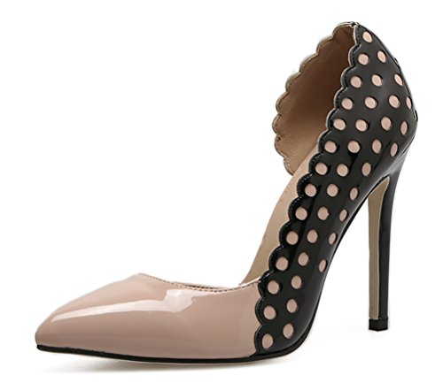 Women's High Heel Stiletto Pointed Toe Pumps(Apricot) - 8