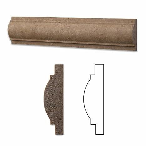 Box of 5 pcs. Noce Travertine Honed 1 X 12 Diamond Rope Liner Trim Molding