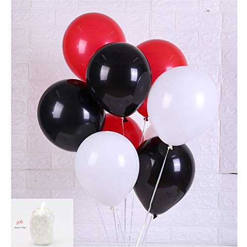 Latex Balloon 100 pcs 12 inch : White and Black and Red Latex Balloons