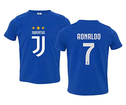 Spark Apparel Soccer Shirt #7 Cristiano Ronaldo Juve CR7 Little Kids Girls Boys Toddler T-Shirt (Royal, 5T)