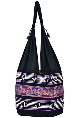 Your Cozy Women Shoulder Bag Cotton Tote for Shopping and Travel Purple