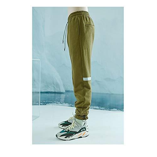 Hhpcspc cordón Deportes Green viga Green de Size elástica Otoño Color con los Cintura pie del Estiramiento de Hombres Casuales Pantalones XL Reflectante Tira HrXr8qZ