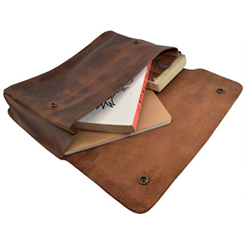 Hide & Drink, Vintage Leather Folder Document Holder/File Case/Document Portfolio, Office & Work Essentials Handmade Includes 101 Year Warranty :: Bourbon Brown ()